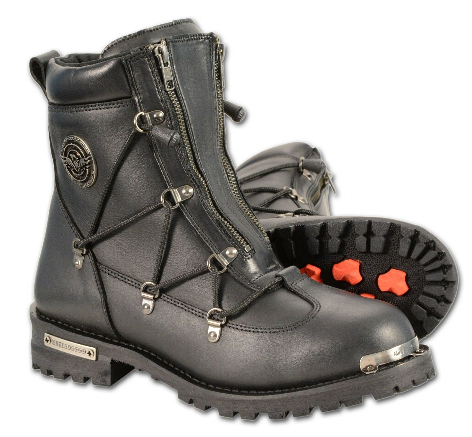 Men's Black Leather Stealth Boot w  Double Entry Zippers & Lace Side Accent
