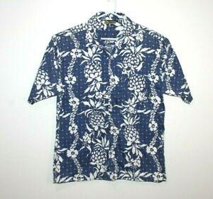 Billabong-Blue-White-Hawaiian-Vintage-Shirt-Men-039-s-Size-Small-Loose-Fit