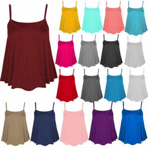 New Womens Plain Swing Vest Sleeveless Top Strappy Ladies Plus Size Flared*CmiS