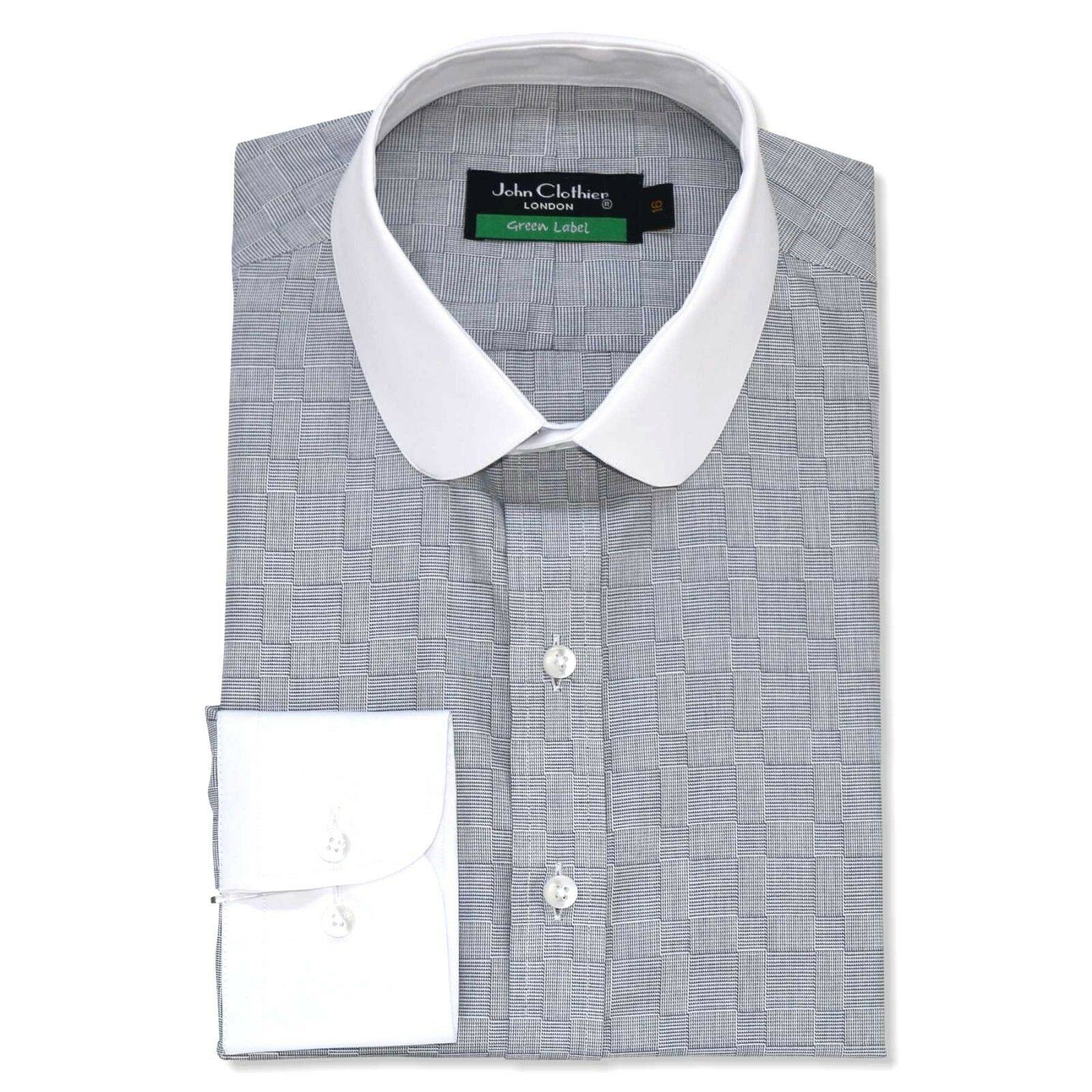 Peaky Blinders  Herren shirts Penny collar Olive Grün Grau tile Grandad Round Club