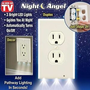 Bathroom Lights With Plugs usa plug cover led night angel wall outlet face hallway bedroom