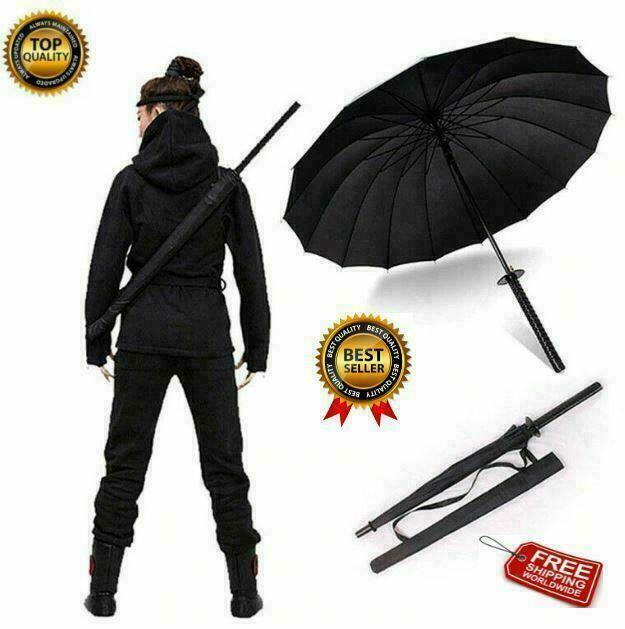 Windproof Umbrella Unique Travel Black Large 24k Ribs Strong Mens Womens Anime