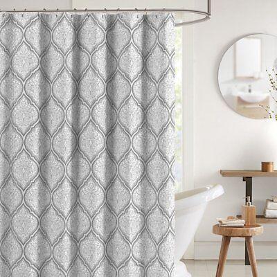 CHD Teal Grey White Canvas Fabric Shower Curtain Floral Damask Geometric Border