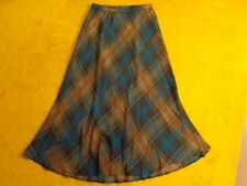 LINEA ~SILK FLUTED PLAID SKIRT ~Size 10 ~Waist 27 28 29 30 31 32 ~ MAXI LONG 36""