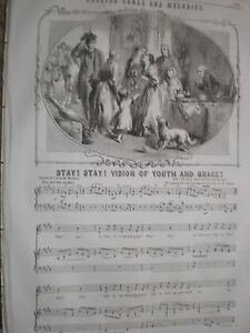 Old-music-sheet-Stay-Stay-Vision-of-Youth-and-Grace-H-R-Bishop-1857