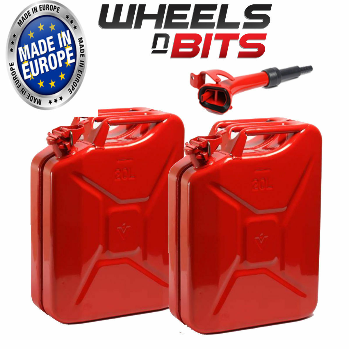 2 x 20 L Red Jerry Military Cans Fuel Oil Petrol Diesel Storage Tank With Spout