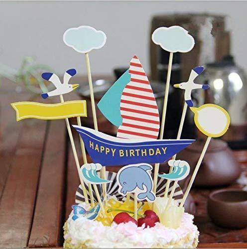PureArte Happy Birthday Cake Topper For Boys Party Decoration blue Sailing Boat
