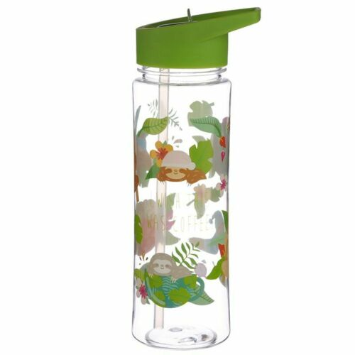 CUTE SLOTH 500ML PLASTIC WATER SPORTS DRINKS LUNCH BOTTLE WITH STRAW BNWT