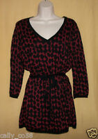 Max Edition Women's Black Ruby Red V Neck Stretch Sweater Top Belt 3/4 Ls M $98