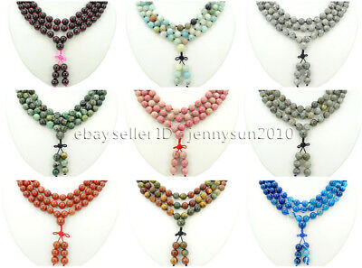 Natural 10mm Gemstone Buddhist 108 Beads Prayer Mala Knot Necklace Multi-Purpose