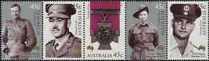 2000-AUSTRALIA-Victoria-Cross-Strip-5-MNH