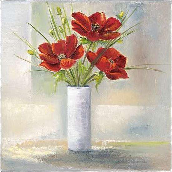 Rian Withaar  rot Flowers I Keilrahmen-Bild Leinwand Mohn-Blaumen Vase modern rot
