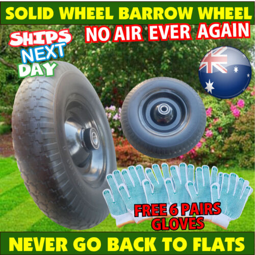 "16"" Solid Rubber Wheel Barrow Cart Tyre Solid Flat Free Tire 25.4mm Bore 390mm"