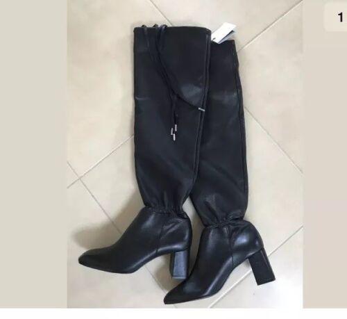 al alto con neri ginocchio stivali in vera pelle e donna tacco Zara alto tacco Uk2 con AUqznx7fWw