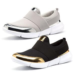 Women-Ladies-Casual-Sneakers-Slip-On-Pumps-Stretch-Shoes-Wedge-Heel-Tennis-Shoes