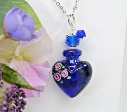 Deep Blue Heart with 3 Pink Roses Art Glass Ashes Holder Necklace