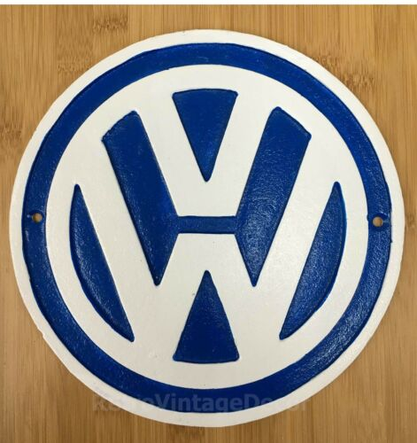 VW ADVERTISING WALL PLAQUE LARGE 24cm CAST IRON ICONIC VOLKSWAGEN WALL SIGN