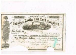 Dubuque and Pacific Rail Road Co., 1856, COX  DUB-750-S-55, selten ausgestellt a