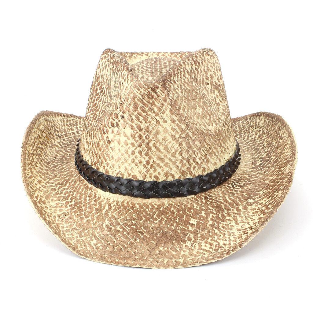 Hat Cowboy Straw Sun Unisex Fedora Western Weathered Effect Black ... f2fe611f3f22