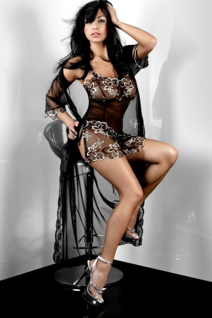Sexy Women Black Lace Floral Print Night Exotic Club Party Long Evening Dresses
