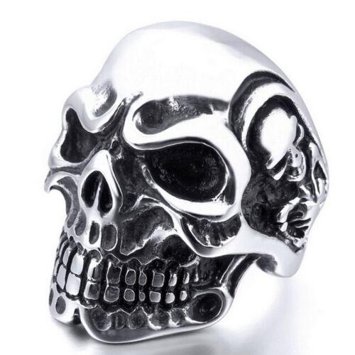 Stainless Steel Men Fashion Gothic Bone Skull Biker Ring Jewelry Size 43656 TDO