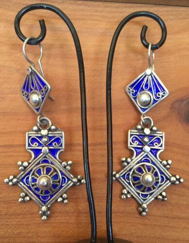 Silver Moroccan Cross Earrings Enamel Evil Eye Amulet Southern Berber Talisman