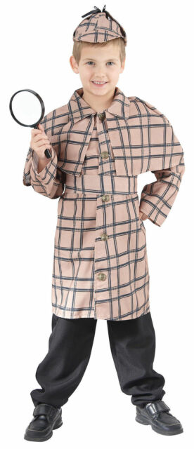 Childs Sherlock Holmes Costume Detective Boys Book Day Fancy Dress Victorican