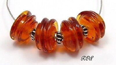 ROA Lampwork 4 Transparent Amber Handmade Swirl Glass Art Beads SRA