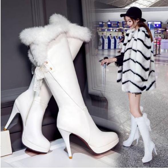 Winter Womens High Heel Zipper Faux fur Fashion Stiletto Knee High Warm Boots sz