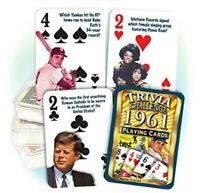 1961 Trivia Playing 52 Card Deck Nostalgia 55th Birthday / Anniversary / Reunion