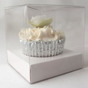 ef63b976e9ab Details about Clear Single Cupcake boxes: 100mm : optional white inserts -  premium quality
