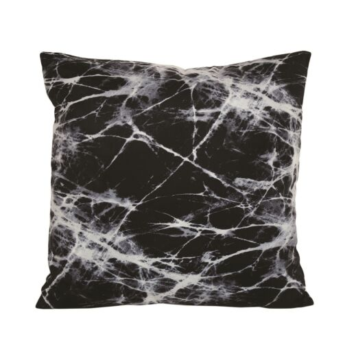 Black Marble Design Square Cushion with White Back 45cm