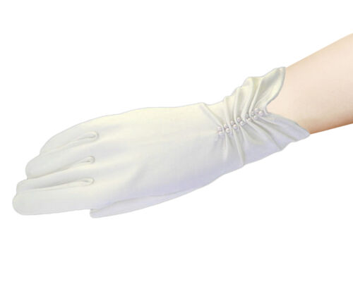 Satin BLACK//WHITE//IVORY SHORT FINGERED WEDDING//PROM GLOVE,Pearls