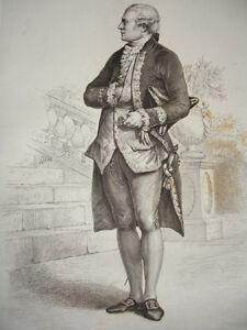 Dix HuitiÈme SiÈcle / Gravure 1840 / Beaumarchais Correspondant En Couleur