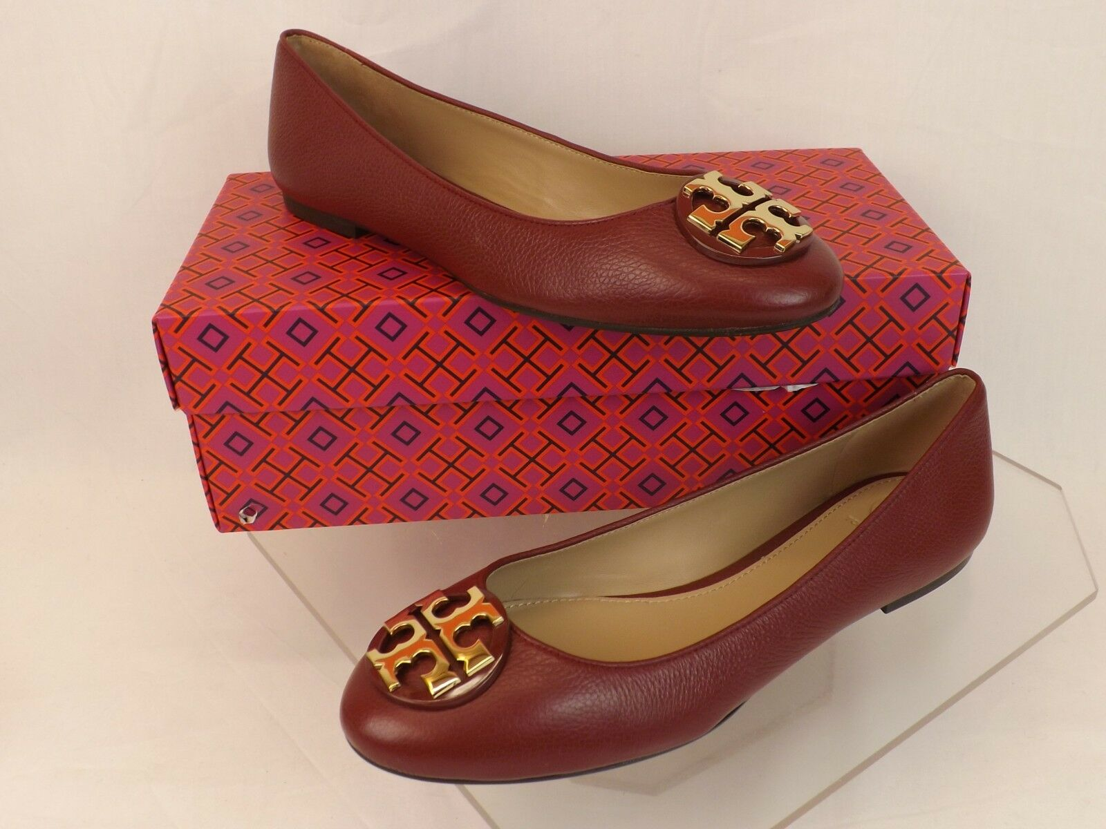 NIB TORY BURCH CLAIRE RED AGATE TUMBLED LEATHER gold TONE REVA BALLET FLATS 10