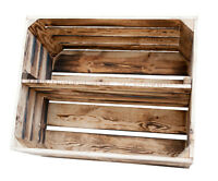 4x Geflammte Obstkisten Mit Zwischenboden, Weinkisten, Bücherregal, Holzkisten