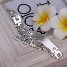 """Women's Mens Unisex 925 Sterling Silver ID Bracelet 8"""" L22"""