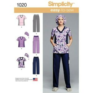 Simplicity-Sewing-Pattern-1020-Nurse-Scrubs-Child-Care-Work-Uniform-TOP-amp-PANTS