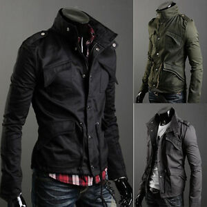Mens-Button-Military-Slim-Fit-Collar-Jacket-Hooded-Coat-HOT-New-Stylish-M-4XL