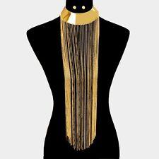 Statement Metal Choker Long Fringe Gold Chain Bib Fashion Necklace Armor
