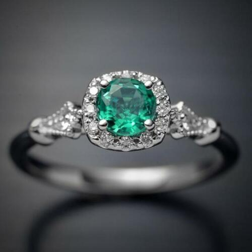 Charm Women Green Square Ring Bride Engagement Wedding Rings Jewelry Gifts FI
