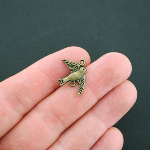 10 Bird Connector Charms Antique Bronze Tone 2 Sided Swallow BC454