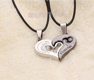 Vogue His and Hers Stainless Steel Heart Pendant Couples Love Necklaces CAJX