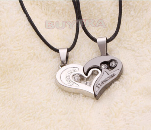 He and her stainless steel I Love You Heart Man Woman Couple Pendant Necklace S*