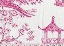 Williamsburg Coll PK Lifestyles Pink Linen Drapery Fabric Toile Orientale Azalea