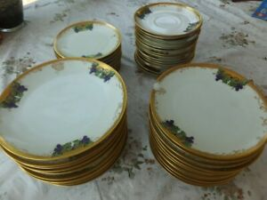 Set of 72 pieces of Antique gold rimmed hand painted wares- 1927- 1929 Barvaria