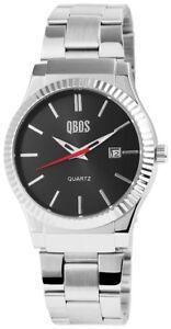 Qbos-Herrenuhr-Anthrazit-Silber-Analog-Datum-Metall-Armbanduhr-XRP3122100010