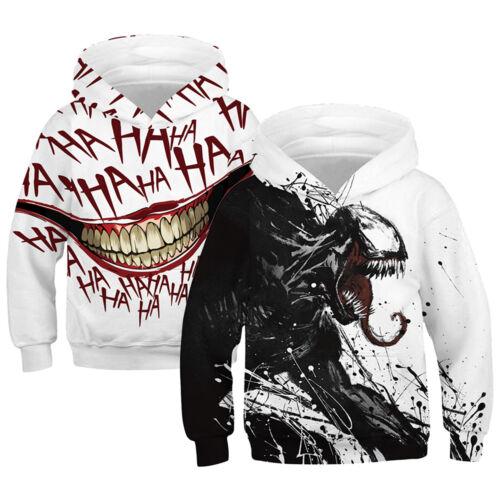 Venom 3D Printed Kids Boys Girls Hooded Pullover Jumper Hoodies Sweatshirt Tops