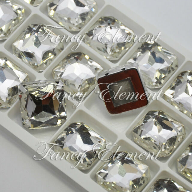 18 Rhinestone 4675 18x18mm Clear Sew On Stone Square Crystal Silver Plate Beads
