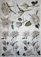 Carta di riso per Decoupage Scrapbook Craft sheet FIORI ROSE BIANCHE 85